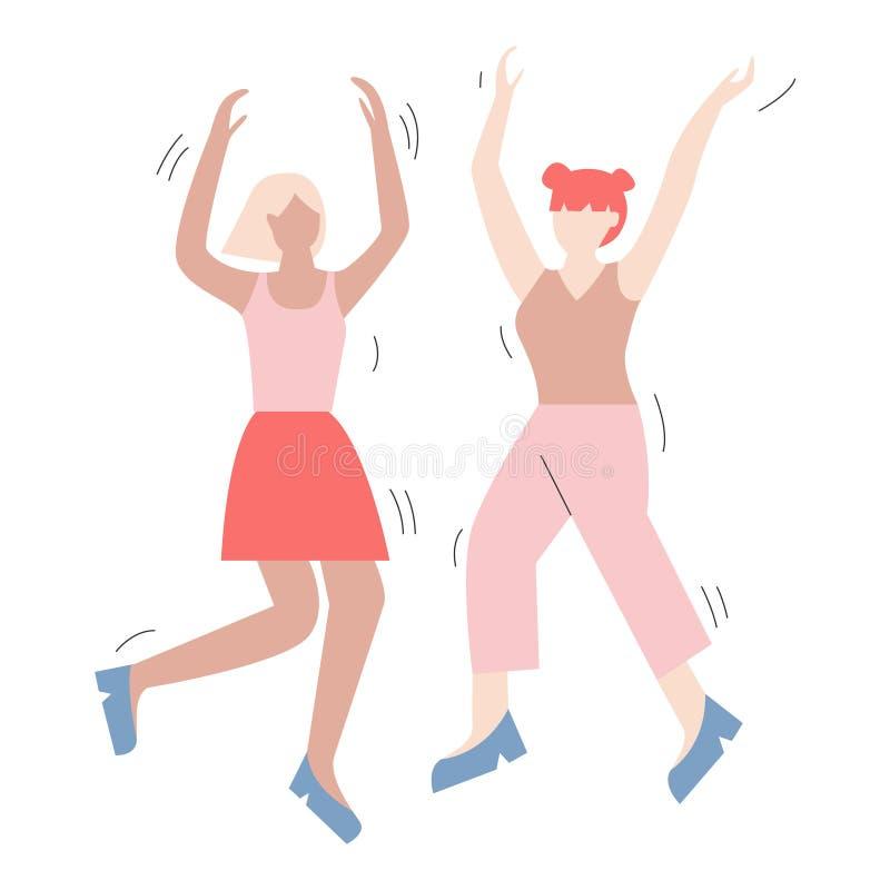 Para postacie z kreskówki ma zabawa tana przy przyjęciem Dwa kobiety ubierali w modnym odzieżowym tanu przy klubem lub koncertem royalty ilustracja