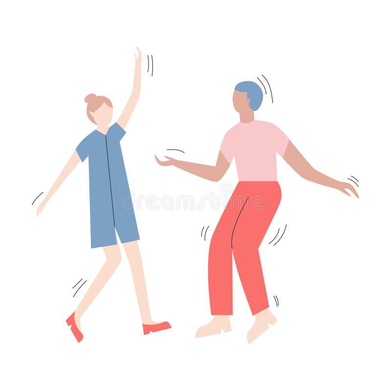 Para postacie z kreskówki ma zabawa tana przy przyjęciem Dwa kobiety ubierali w modnym odzieżowym tanu przy klubem lub koncertem ilustracji