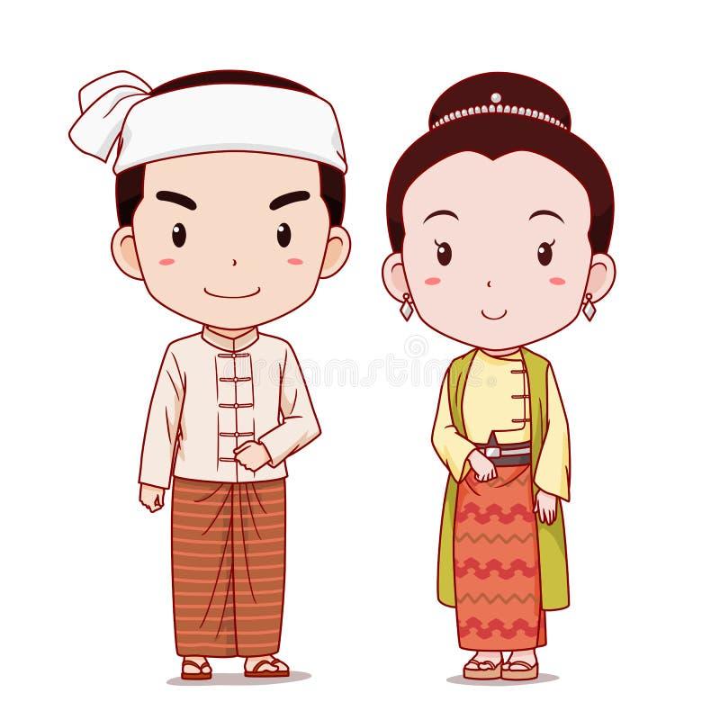 Para postacie z kreskówki w Myanmar tradycyjnym kostiumu ilustracji