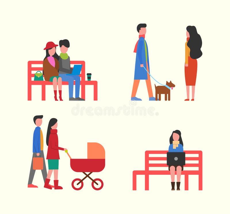 Para Pracuje na laptopie na ławce, Rodzinny odprowadzenie ilustracji