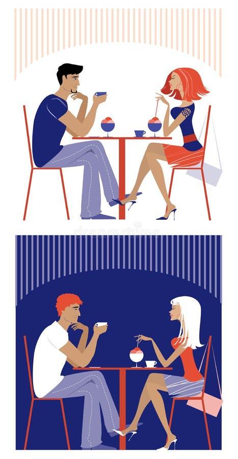 Para przy kawiarnią ilustracji