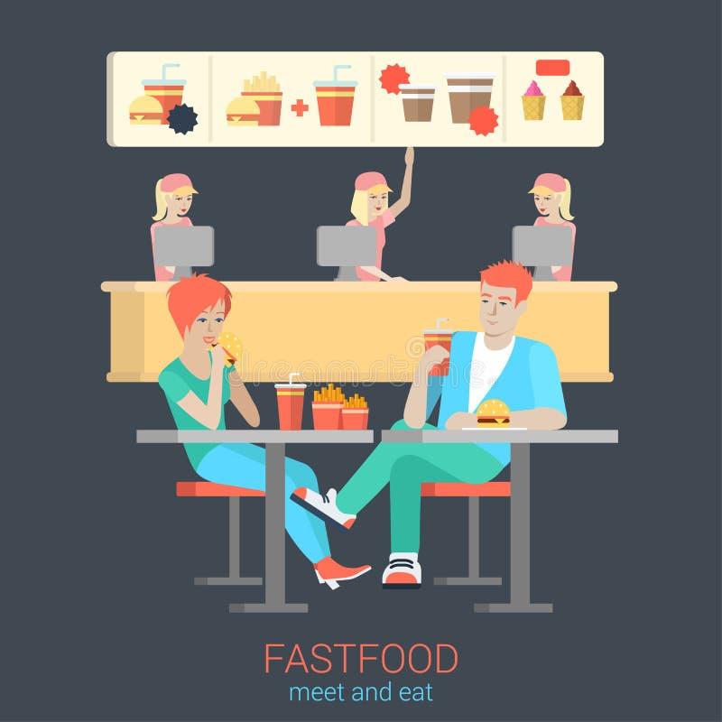 Para przyjaciele w fastfood łasowania hamburgeru dłoniakach: płaski wektorowy jedzenie ilustracji