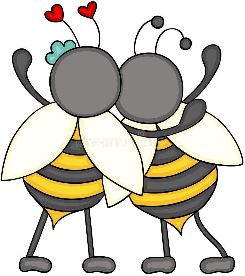 Para pszczół huggeding plecy royalty ilustracja