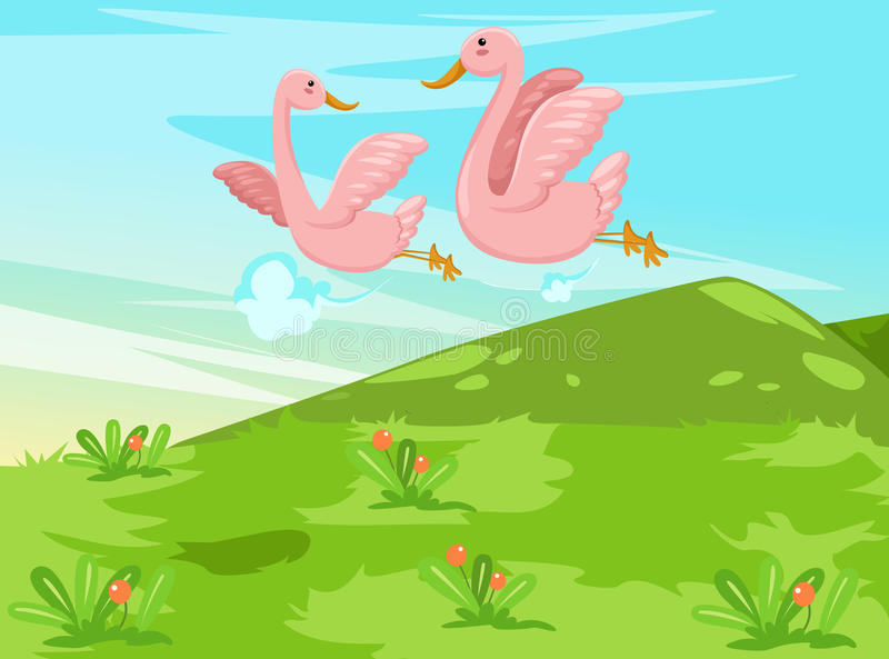Para ptaki target844_1_ nad niebem ilustracji