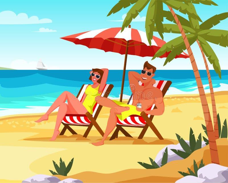 Para relaksuje na wakacje mieszkania wektorze ilustracji