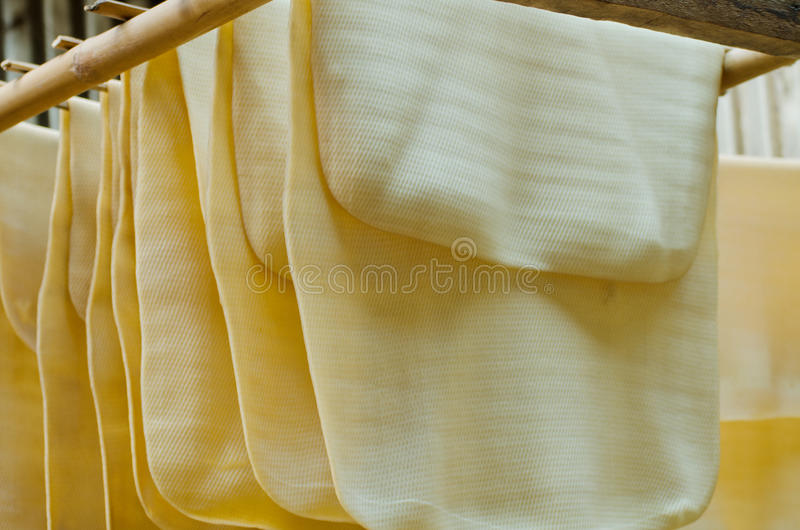 Para rubber dry sheets. In storehouse stock image