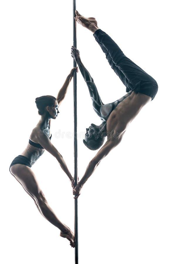 Para słupów tancerze z sztuką na pilonie obrazy royalty free