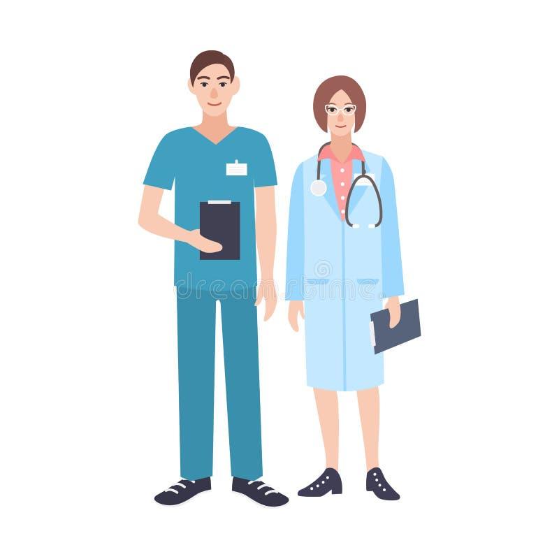 Para samiec, kobiety lekarki jest ubranym i Mężczyzna i kobiety medyczni lekarzi praktykujący ubierający wewnątrz royalty ilustracja