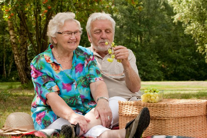 para senior parkowy picknicking
