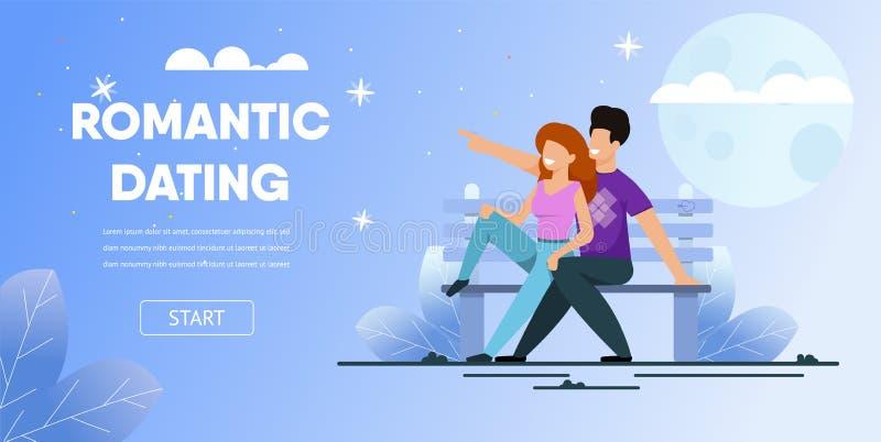 Para Siedzi ławka parka daty nocy Romantyczną księżyc ilustracja wektor