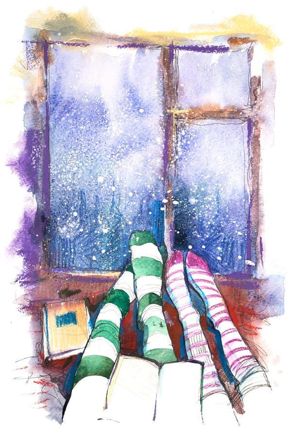 para siedzieć razem Zimy i bożych narodzeń wakacje cieki skarpeta ilustracji