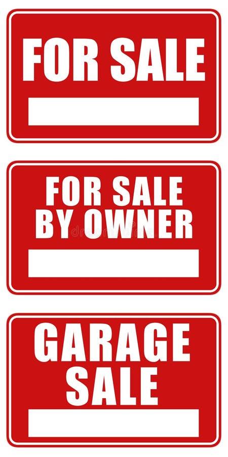 Para sinais da venda e da venda de garagem ilustração royalty free