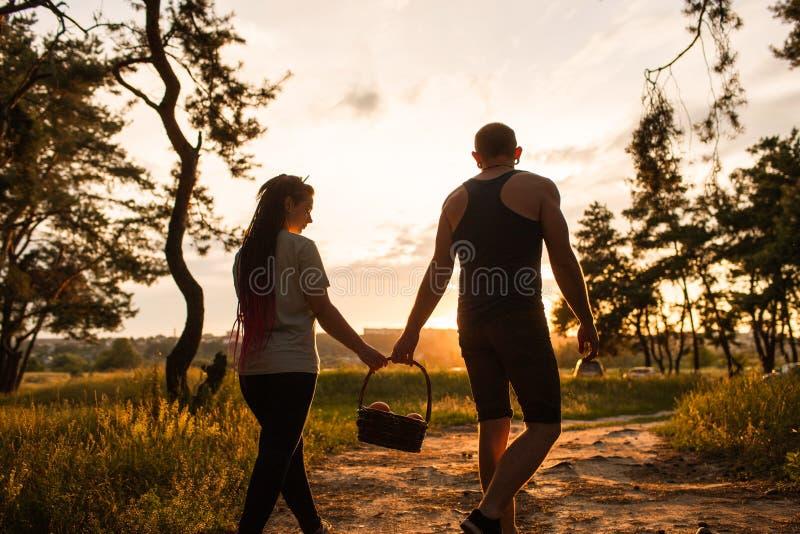 Para spaceru miłości nieformalny łąkowy pykniczny pojęcie fotografia royalty free
