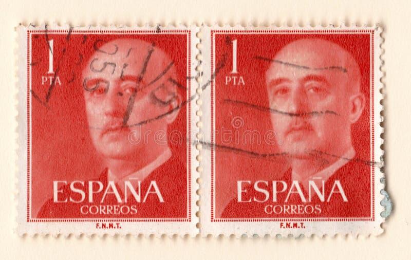 Para starzy czerwoni roczników znaczki pocztowi z wizerunkiem generał franco zdjęcie royalty free