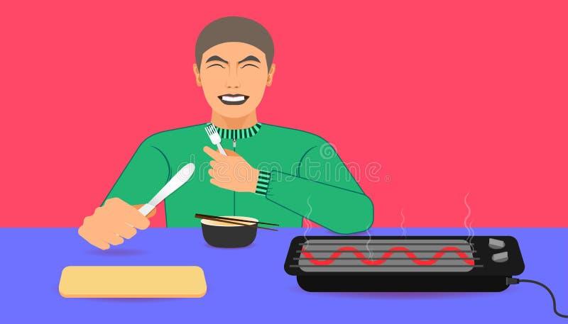 Para su promoción de la comida un hombre feliz mientras que comía la comida recomendó en la mano izquierda que sostiene una cucha stock de ilustración