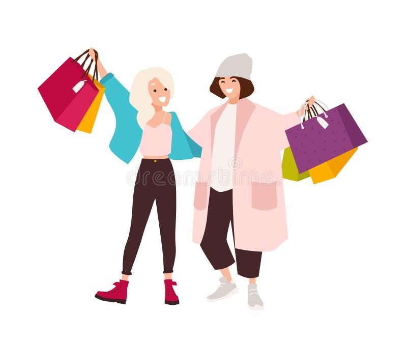Para szczęśliwe nastoletnie dziewczyny niesie torby na zakupy Uśmiechnięte młode kobiety trzyma ich zakupy Para shopaholics ilustracja wektor