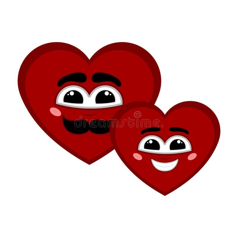 Para szczęśliwy serce kształtuje z uśmiechem royalty ilustracja