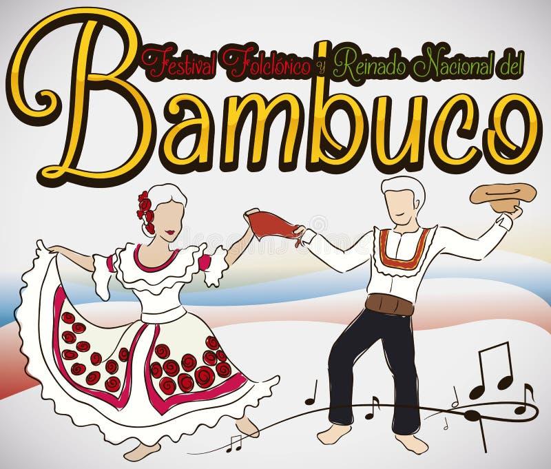 Para Tanczy Bambuco z Tradycyjnymi kostiumami w Kolumbijskim Ludoznawczym festiwalu, Wektorowa ilustracja ilustracji