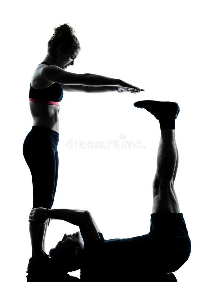 para target1831_0_ sprawności fizycznej mężczyzna jeden kobiety trening zdjęcie stock