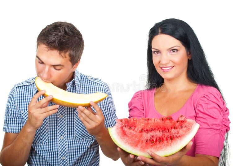 Para Target2316_1_ Zdrowych Melony Obraz Royalty Free