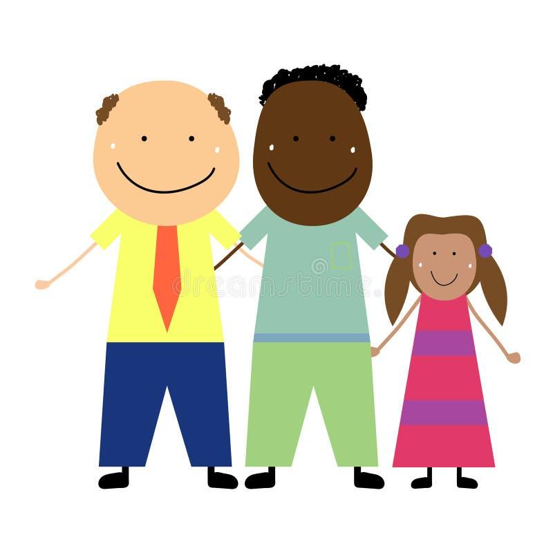 Para tej samej płci z dzieckiem ilustracja wektor