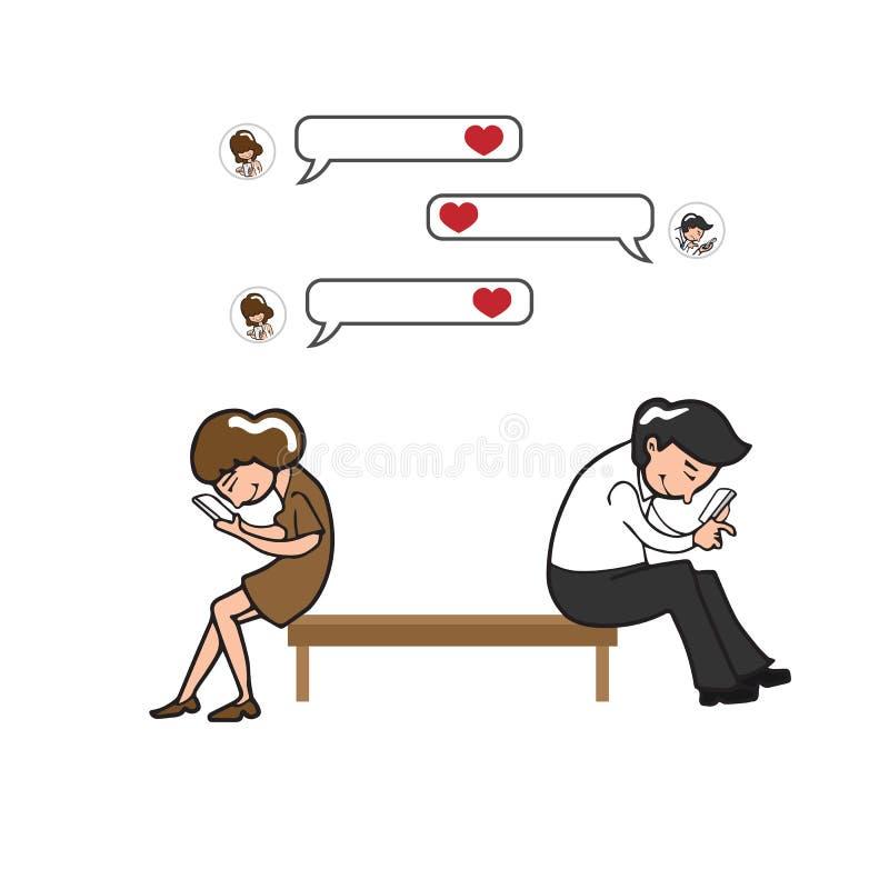 Para texing na telefonie komórkowym ilustracji