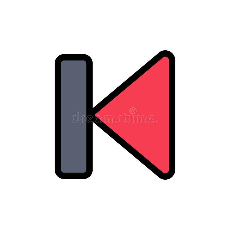 Para trás, começo, controle, meio, ícone liso da cor do começo Molde da bandeira do ícone do vetor ilustração stock