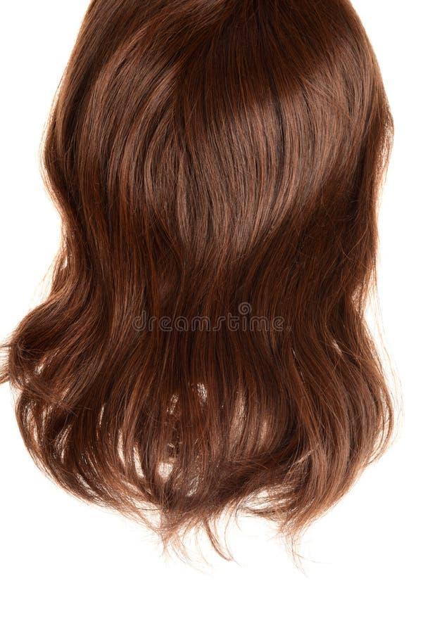 Para trás da peruca moreno do cabelo isolada imagem de stock
