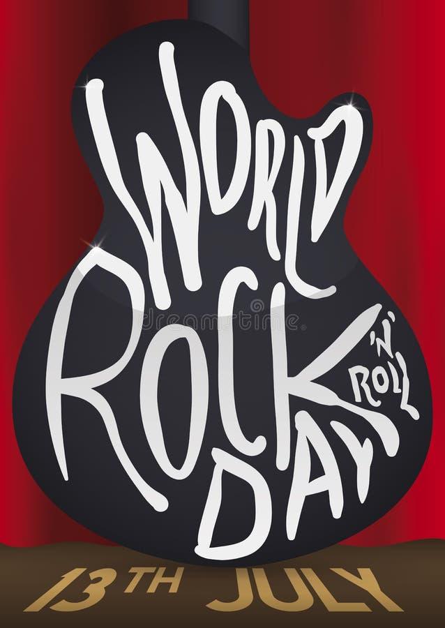 Para trás de cortinas da guitarra e da fase para o dia da rocha do mundo, ilustração do vetor ilustração royalty free