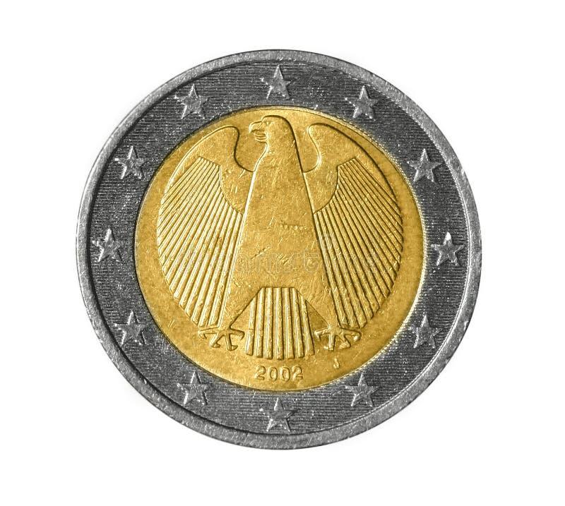 Para trás de uma moeda do euro dois foto de stock royalty free