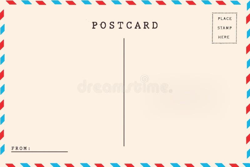 Para trás do cartão da placa do correio aéreo foto de stock