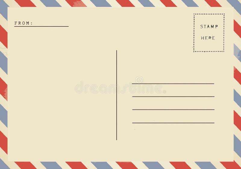 Para trás do cartão da placa do correio aéreo imagens de stock royalty free