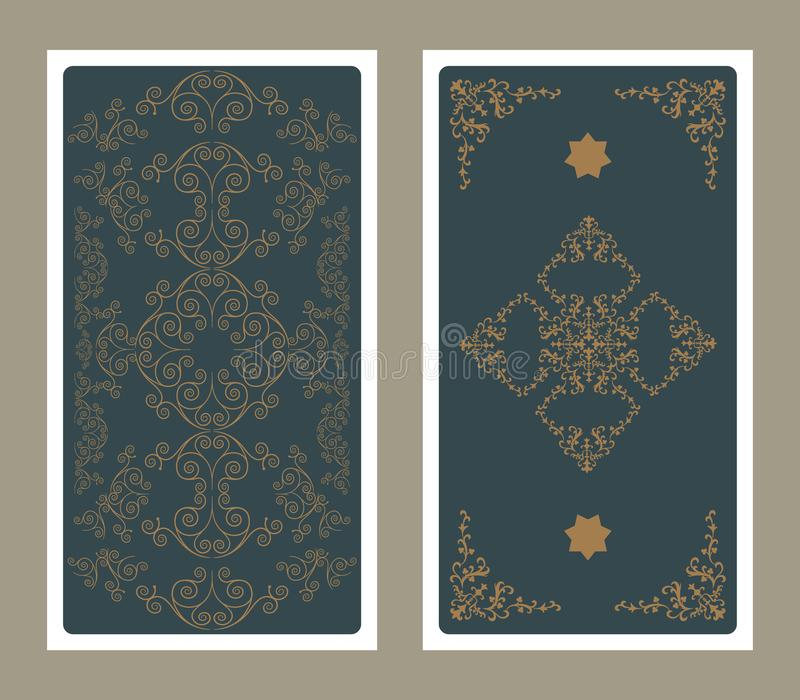 Para trás do cartão de tarô decorado com gráficos e as estrelas decorativos ilustração do vetor