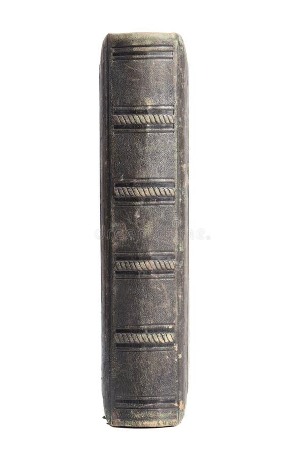 Para trás do livro de couro velho imagens de stock