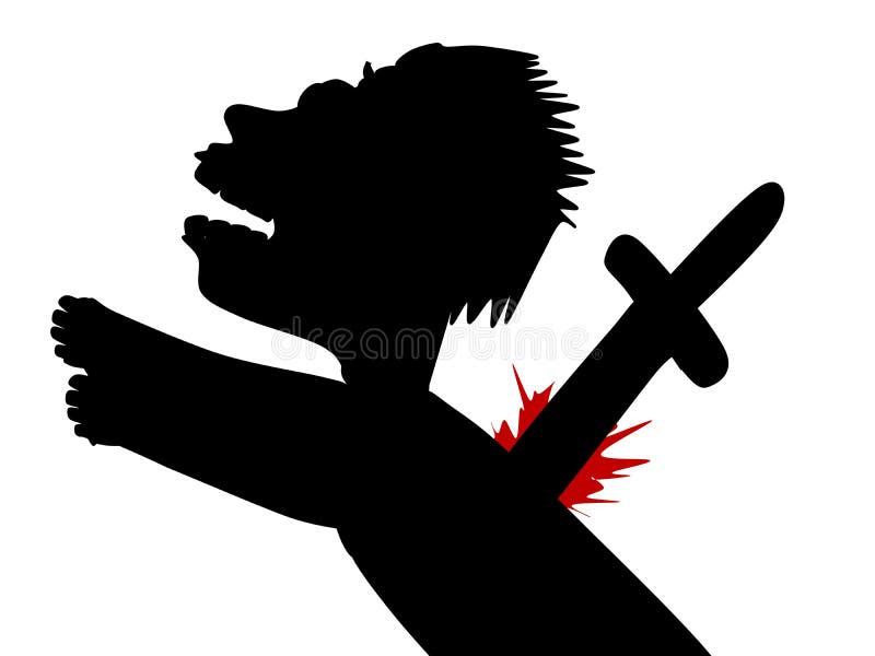 Para trás-stabbed ilustração stock