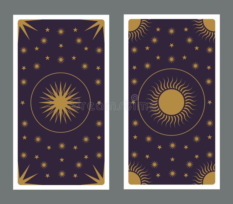 Para tr?s do cart?o de tar? decorado com estrelas, sol e lua ilustração royalty free