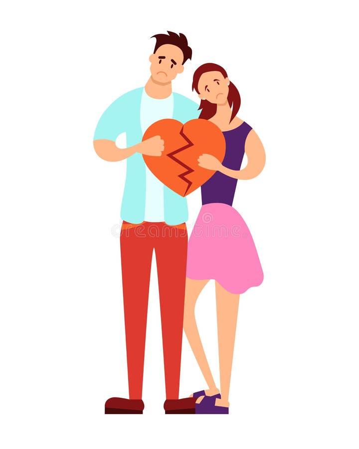 Para trzyma złamane serce ilustracja wektor