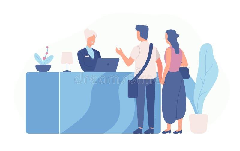Para turyści lub podróżnicy stoi przy recepcyjnym biurkiem i opowiada recepcjonista scena z gościami przy hotelu lobby ilustracji