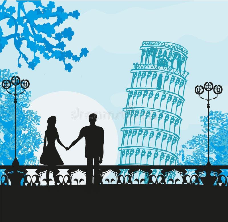 Para turyści w Pisa ilustracji