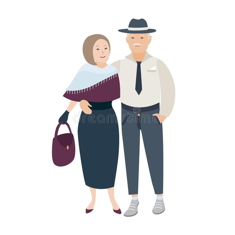 Para uśmiechać się dżentelmenu i obejmować starej damy i ubierał w eleganckich wieczór ubraniach Para starsi ludzi wewnątrz royalty ilustracja