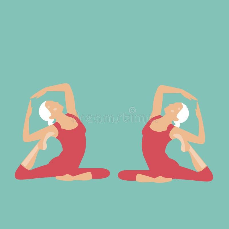 Para una muchacha con el pelo blanco que hace yoga stock de ilustración