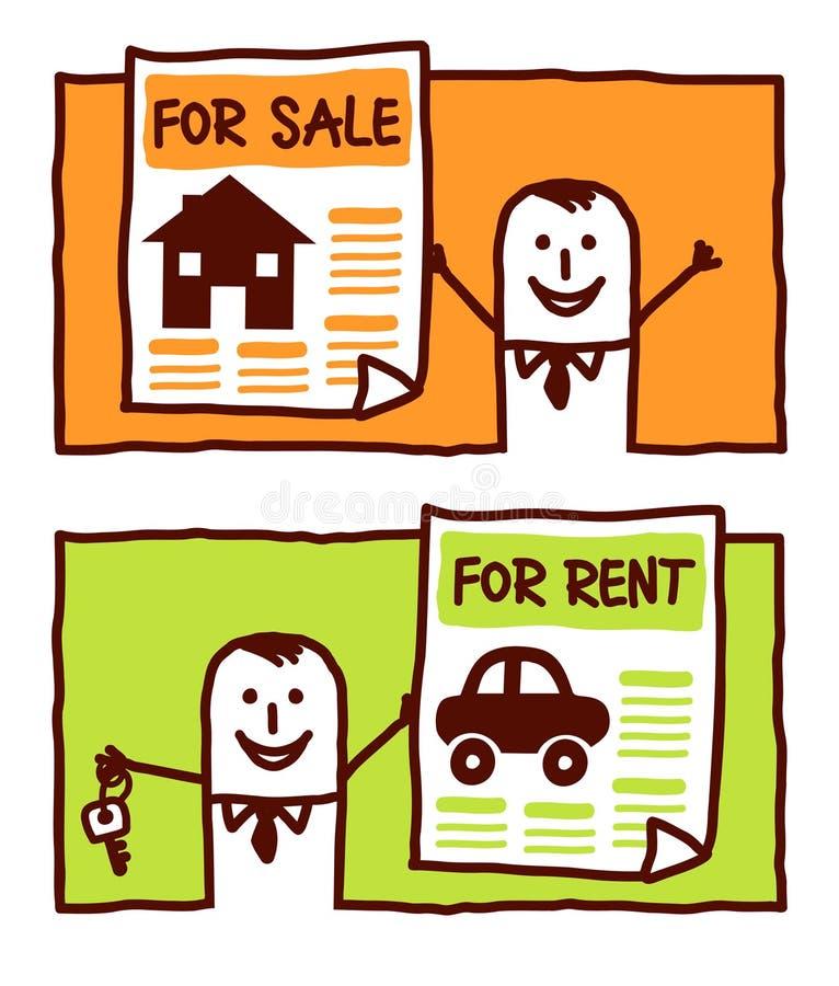 Para a venda & para o aluguel ilustração do vetor