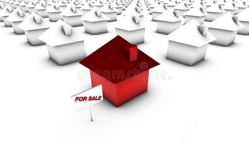 Para a venda - vermelho com branco ilustração do vetor