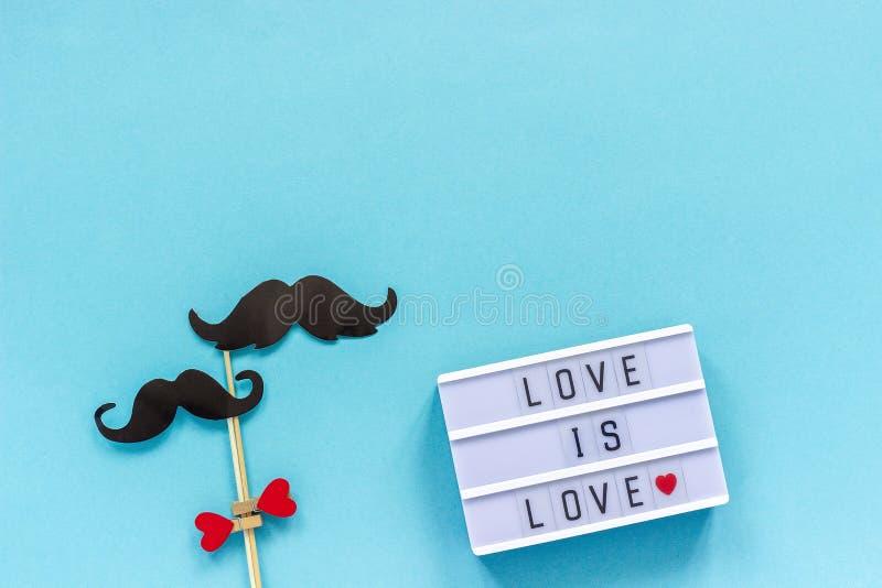 Para wąsy papierowi wsparcia na kiju i lekkim pudełku z tekst miłością są miłością na błękitnym tle Pojęcie homoseksualnościa hom zdjęcia royalty free