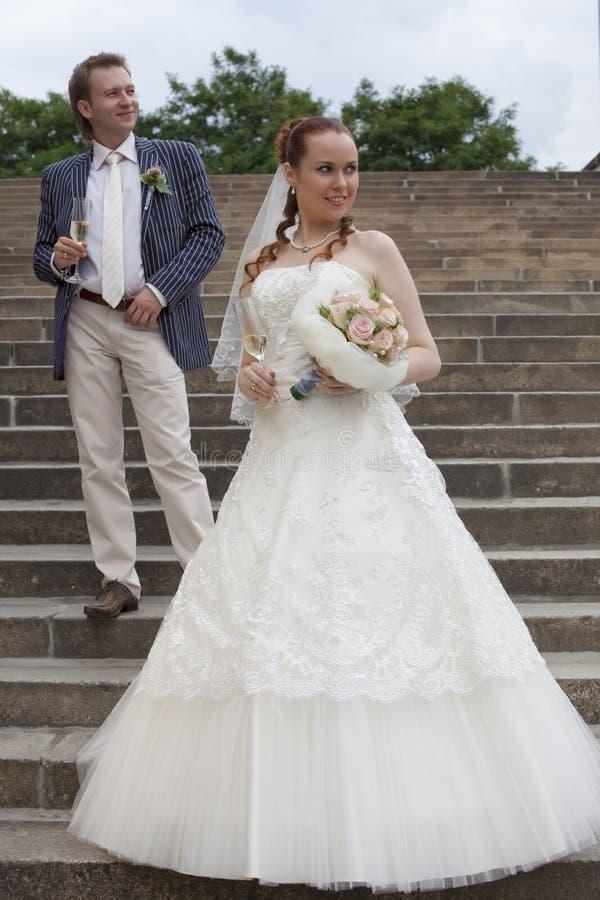 para właśnie poślubiał zdjęcie royalty free