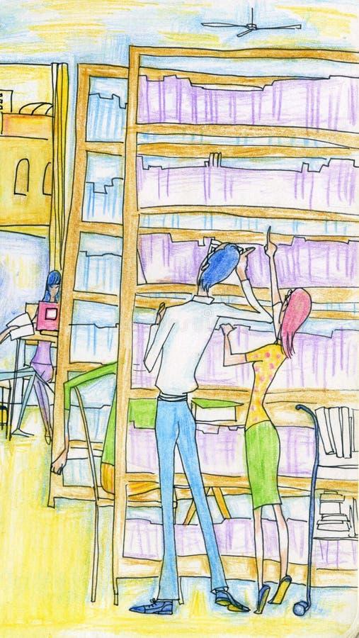 Para w bibliotece ilustracji