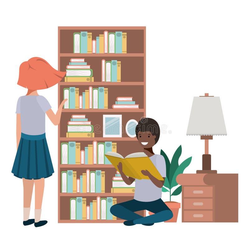 Para w bibliotecznym avatar charakterze ilustracja wektor