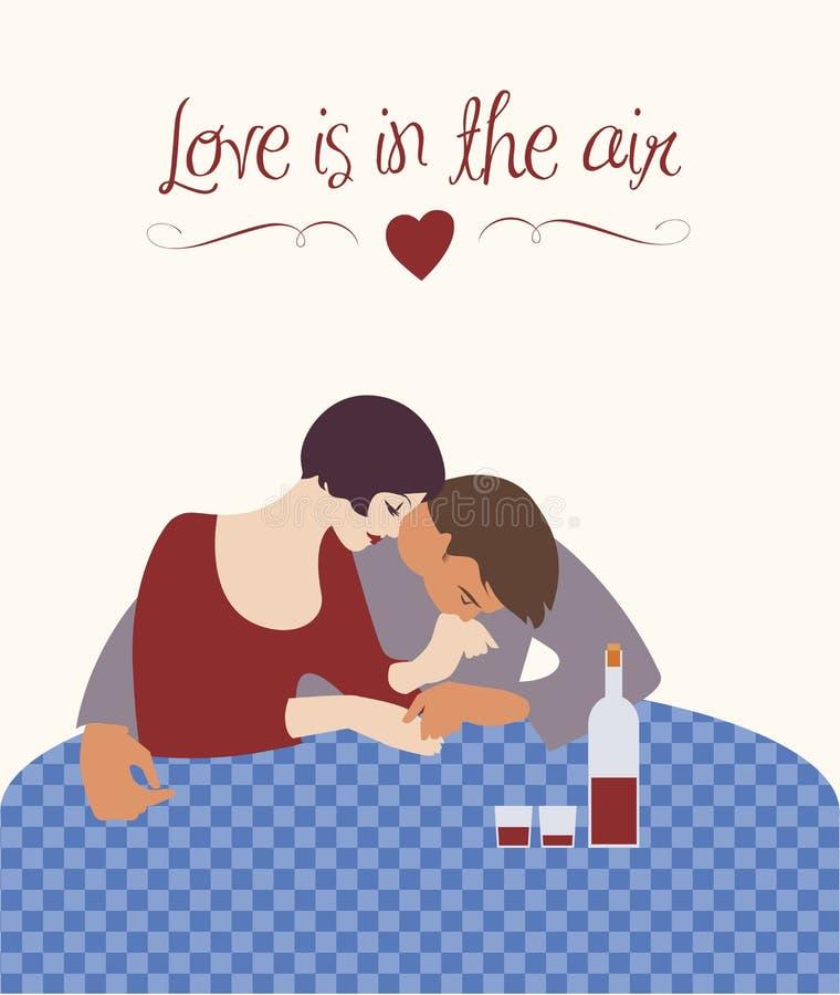 Para W Kawiarni miłość powietrza ilustracja wektor