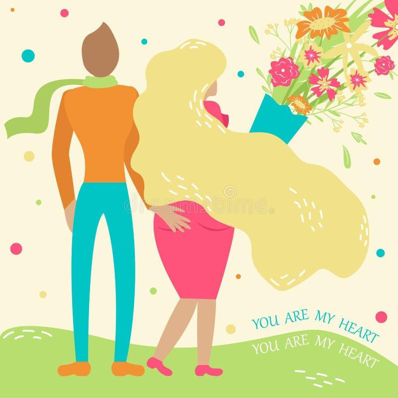 Para w miłości chodzi w uścisku z bukietem kwiaty Modny pociągany ręcznie styl ilustracja wektor