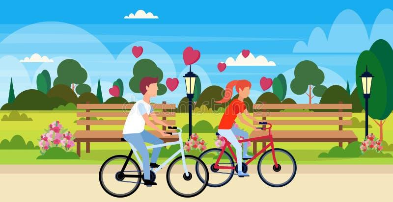 Para w miłość bicykli/lów valentines dnia pojęcia jeździeckiego szczęśliwego wakacyjnego miasta parka krajobrazu młodego człowiek royalty ilustracja